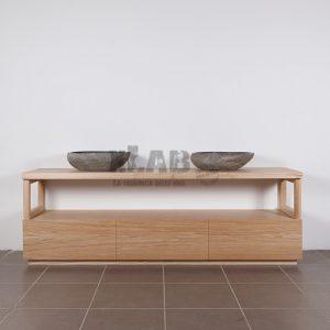 Mobile da bagno con cassetti in legno massello Diane