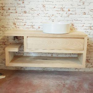 Mobile da bagno sospeso con cassetto in legno di castagno Ollie