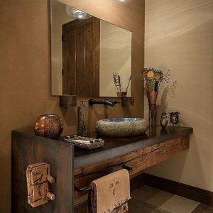 Arredo bagno in legno massello rustico Marilyn
