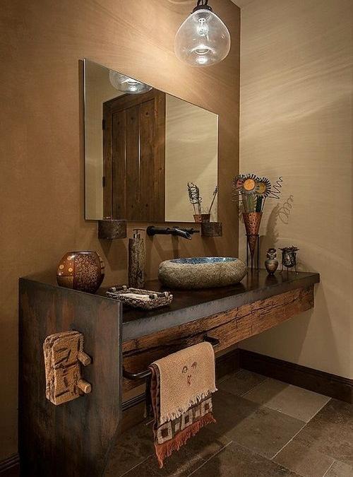 Arredo bagno in legno massello rustico lavabo in pietra e legno antico