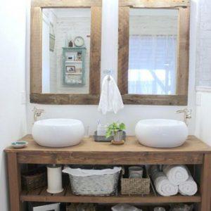 Mobile da bagno in legno Kailey completo di 2 specchi