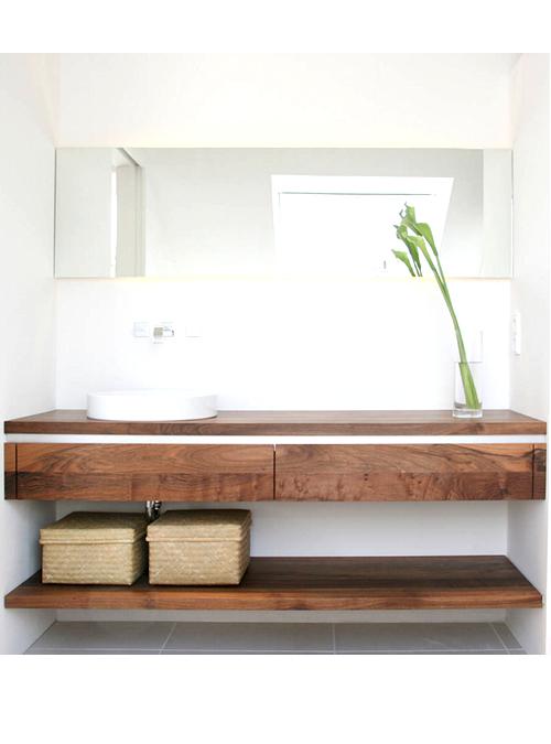 Mobile per lavabo da appoggio in legno con cassetti rose for Mobile bagno legno