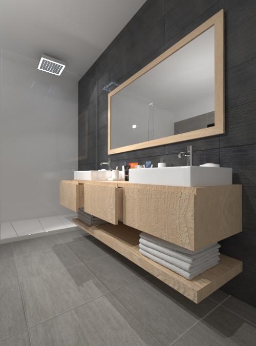 Mobile da bagno in legno sospeso con cassetti su misura lara for Mobili in offerta