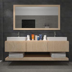 Mobile bagno design legno con cassetti e mensola Lara