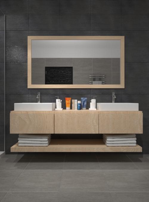 Mobile bagno design legno con cassetti e mensola