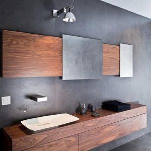 Arredo bagno sospeso in legno listellare di noce nazionale design minimal Victoria
