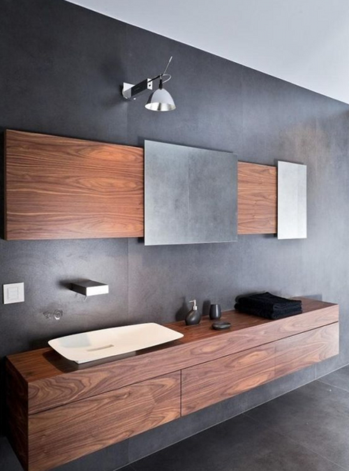 Mobile bagno in legno di noce nazionale sospeso di design minimalista