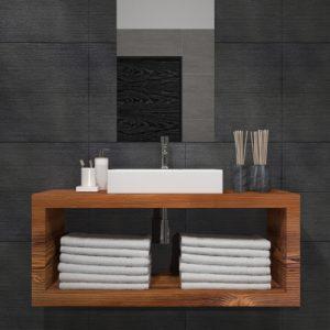 Mobile da bagno in legno rustico di Larice per lavabo Soleil
