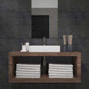 Mobile bagno sospeso in legno Design lineare Ida