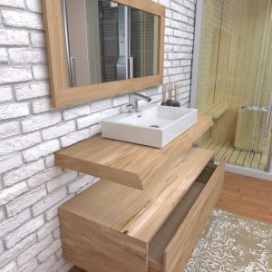 Mobile da bagno sospeso in legno con cassetto Esmeralda
