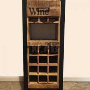 Mobile bar portabottiglie in legno e ferro Farm