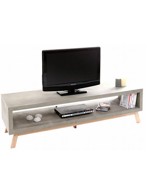 Mobile porta tv basso legno effetto cemento cement xlab for Mobile contemporaneo