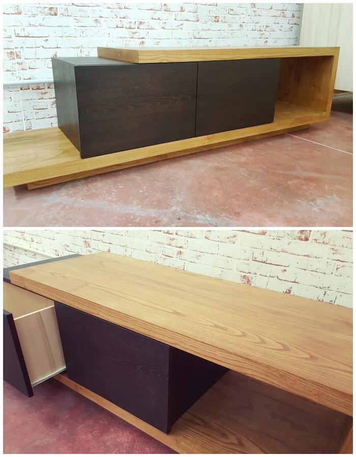 Mobile porta tv in legno stile minimal black block xlab design for Mobile porta tv in legno