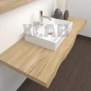 Piano per lavabo da appoggio in legno con bordo rustico – Denise