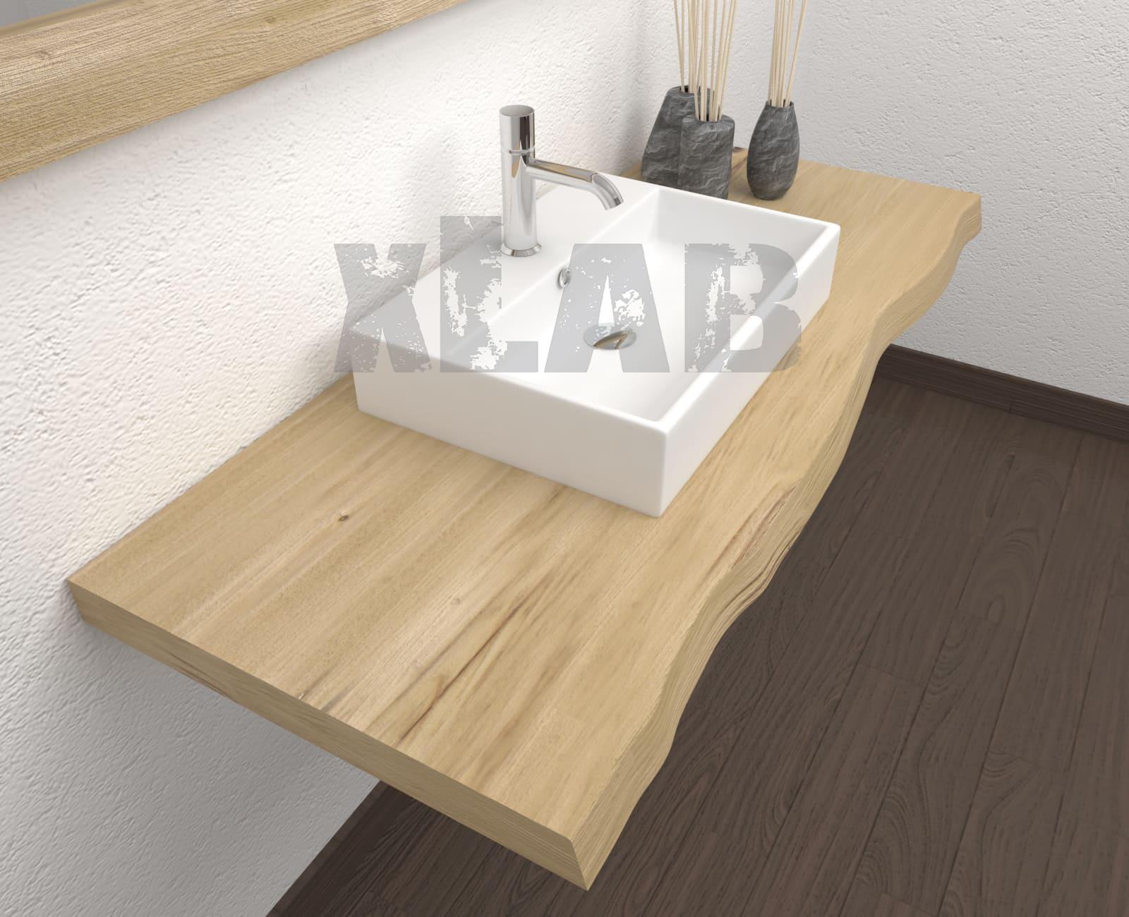 Piano Per Lavabo Da Appoggio piano per lavabo da appoggio in legno con bordo rustico - denise