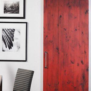 """Porta scorrevole da interno rossa barn door con binario in ferro """"Phoebe"""""""