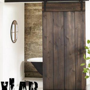 """Porta in legno massello stile industrial con binario di scorrimento in ferro """"Coddington"""""""