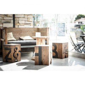 Pouf seduta cubo in legno di castagno – Block