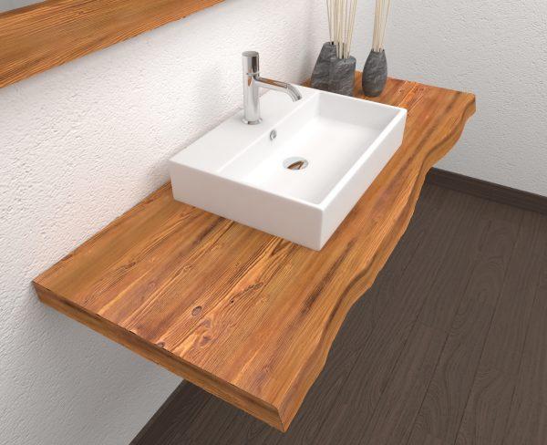 Mensola da bagno sospesa Nikki in legno massello di larice