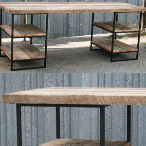 Scrivania in ferro e legno industrial design Verga