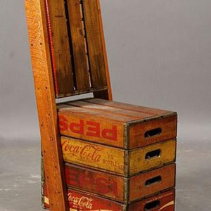 """Sedia """"old style Pepsi Coke"""" con cassette legno vintage"""
