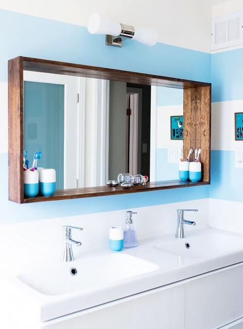 Specchio Da Bagno Cornice In Legno Massello Atena Xlab