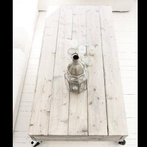 Tavolino in legno massello vintage decapè Cross