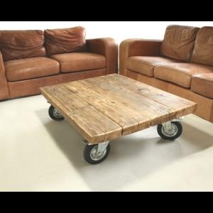 Tavolino da salotto vintage con ruote Bronzino