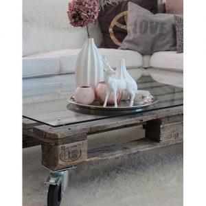 Tavolino pallet con piano in plexiglass Munch