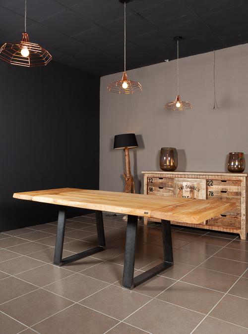 Victor tavolo da pranzo allungabile in legno e ferro for Tavolo ovale allungabile legno massello