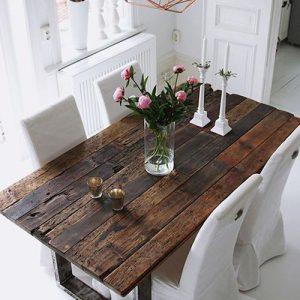 Tavolo vintage da soggiorno in legno invecchiato Byron