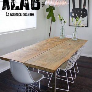 Tavolo da pranzo in legno massello segato dal tronco Patrick