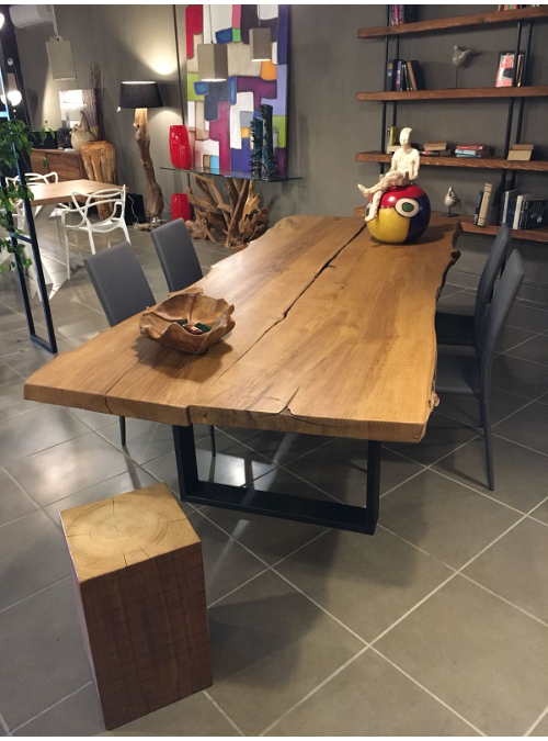 Tavoli Con Tronchi Di Legno.Tavolo Da Soggiorno In Legno Di Castagno Antico Anna Jpg Xlab Design