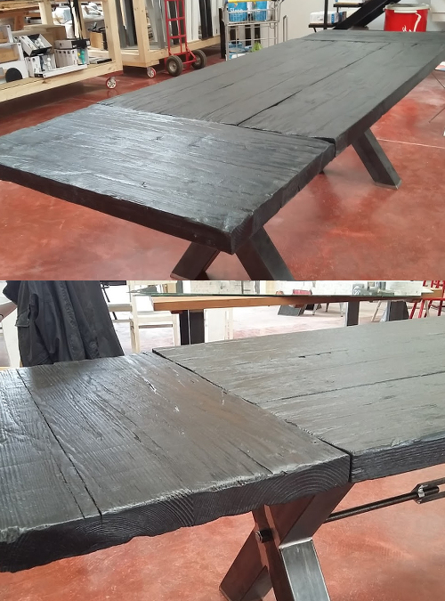 Tavolo In Legno Massello Allungabile Effetto Shou Sugi Ban Modello Carbon Jpg Jpg Xlab Design