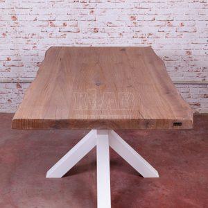 Tavolo in legno con gamba centrale in ferro Antares design moderno