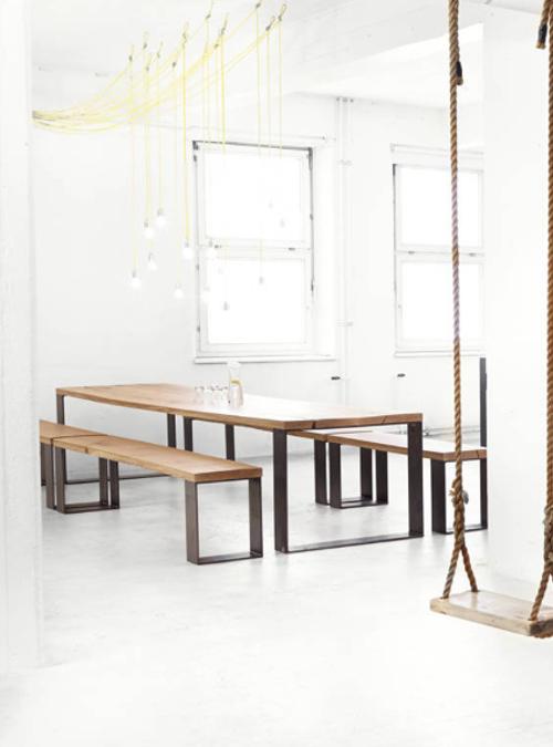Tavolo Con Panche Legno.Tavolo Da Pranzo Stile Industriale Rustico Cedric Xlab
