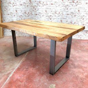 tavolo da cucina in legno massello rustico grezzo di castagno gambe in ferro
