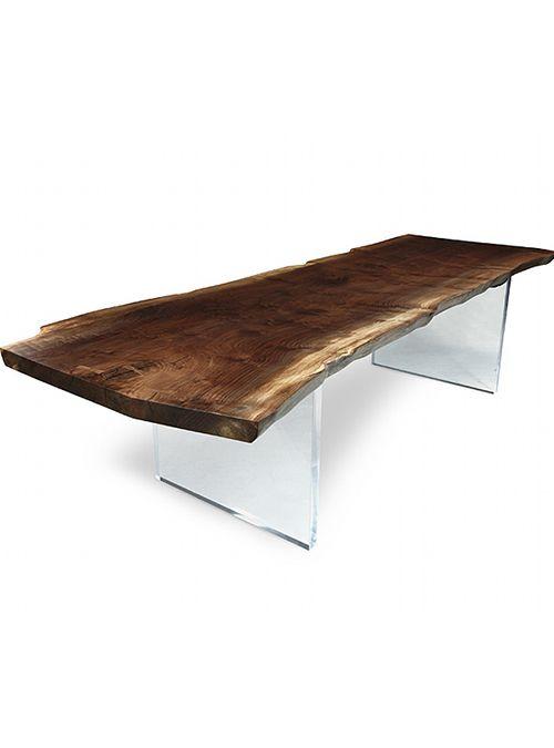 Tavolo in legno massello e gambe in plexiglass lux xlab for Tavoli da soggiorno in legno