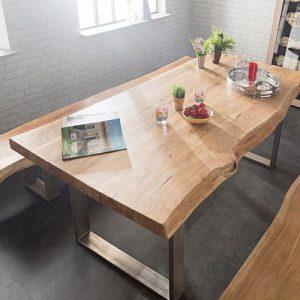 Tavolo in legno di castagno George bordo rustico gambe in ferro