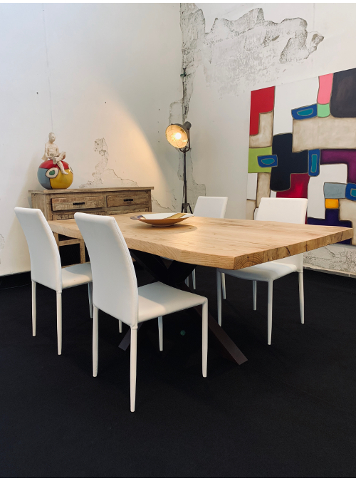 Tavolo In Legno Gamba Centrale Effetto Taglio Tronco Paul Xlab Design