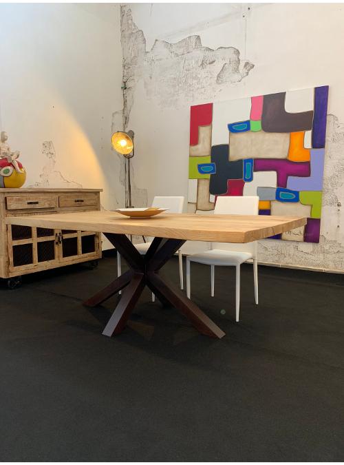 Tavolo in legno gamba centrale in ferro Paul
