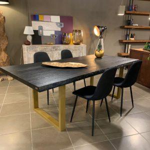 Tavolo in legno di frassino nero con gambe oro Sauron Black