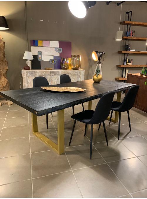 Tavolo in legno di frassino nero con gambe oro