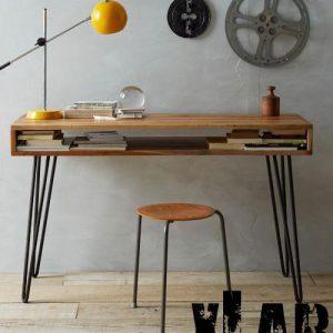 Tavolo scrivania legno e ferro vintage D'Annunzio