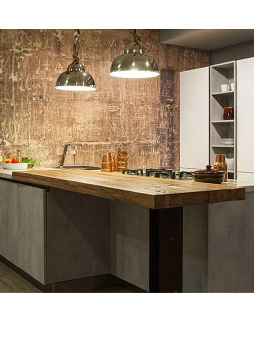 Piano cucina per colazione ed in legno massello xlab for Isola cucina legno