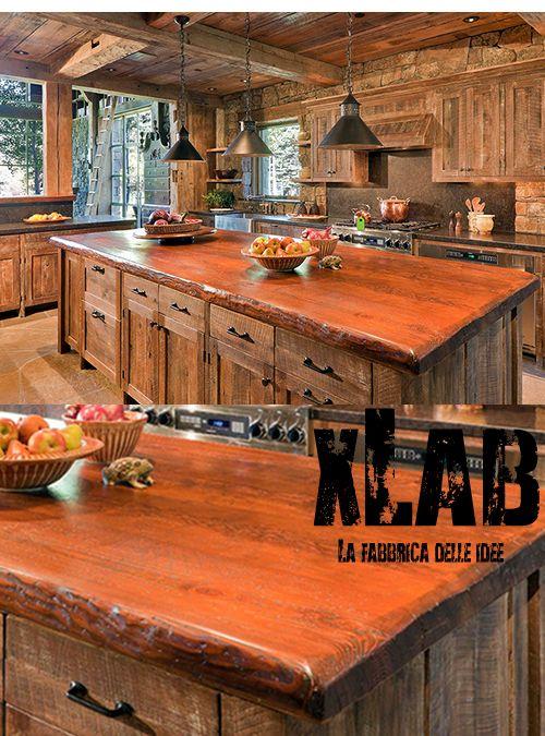 Top cucina in legno di larice stile country lolly xlab for Isola cucina legno
