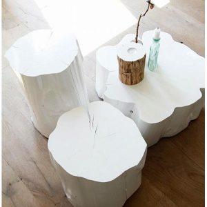 Tris tronchi tavolini da salotto colore bianco Casas