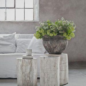 Tris tavolini tronco legno design originale Millet