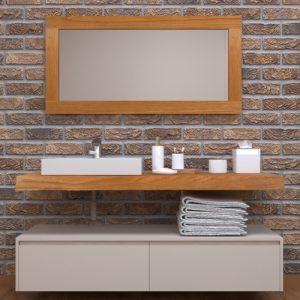 Mobile da bagno sospeso Design minimal in legno massello di castagno Georgia