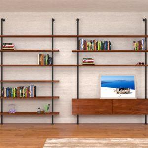 Libreria da soggiorno in stile industriale Svevo